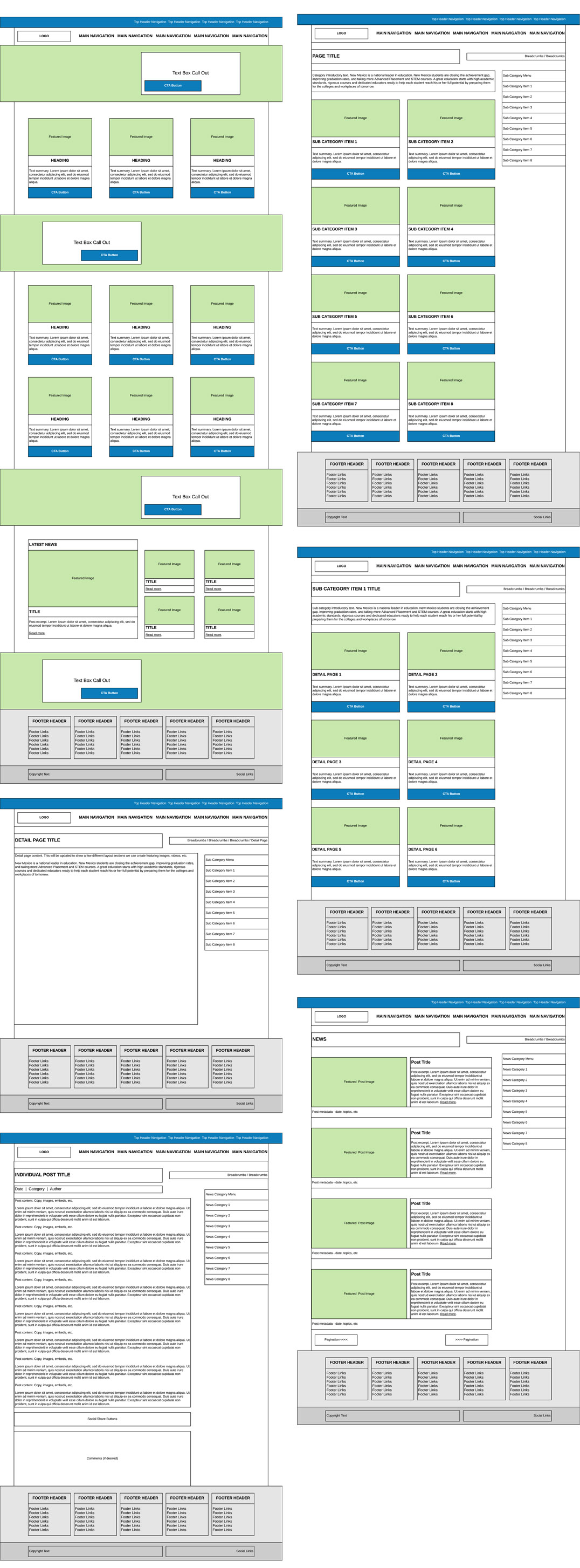 Various Wireframes