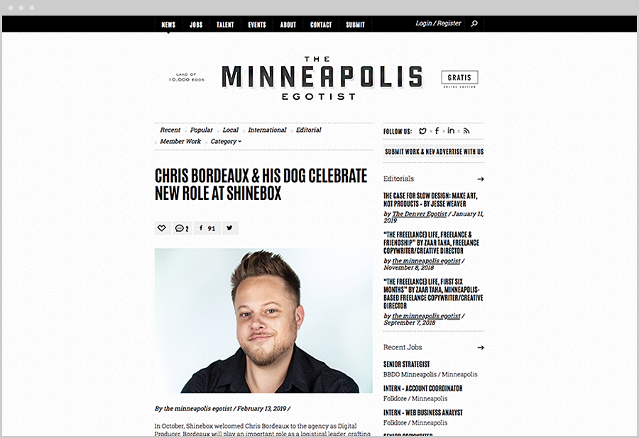 Chris Bordeaux Minneapolis Egotist